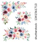 floral bouquets set with... | Shutterstock . vector #1341561713