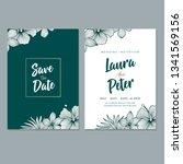 floral wedding invitation...   Shutterstock .eps vector #1341569156