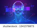 man wearing augmented reality... | Shutterstock .eps vector #1341578873
