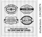 wedding typography stamps | Shutterstock .eps vector #134158574