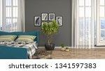 bedroom interior. 3d... | Shutterstock . vector #1341597383