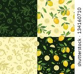 Lemon with leaves seamless pattern set. Colorful vector illustration with citrus fruits on dark and light background.