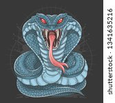 cobra snake full body blue | Shutterstock .eps vector #1341635216