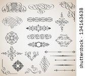 vector set of calligraphic... | Shutterstock .eps vector #134163638