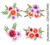 flowers set. collection of... | Shutterstock .eps vector #1341637040