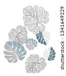 vector tropical pattern with... | Shutterstock .eps vector #1341649229