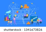 shopping  sale and delivery... | Shutterstock .eps vector #1341673826