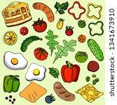 set for breakfast on a green... | Shutterstock .eps vector #1341673910