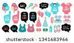 baby shower photo booth props.... | Shutterstock . vector #1341683966