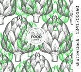 artichoke vegetable... | Shutterstock .eps vector #1341700160