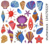 tropical sea shells  starfishes ... | Shutterstock .eps vector #1341703229