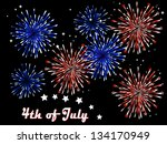 blue and red fireworks on black ... | Shutterstock .eps vector #134170949