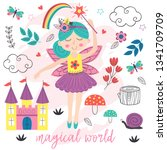 poster magical world with fairy ...   Shutterstock .eps vector #1341709709