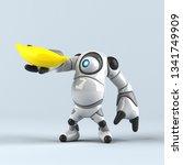 big robot   3d illustration | Shutterstock . vector #1341749909