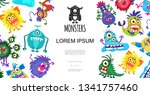 funny cute colorful monsters... | Shutterstock .eps vector #1341757460