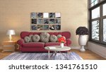 interior of the living room. 3d ... | Shutterstock . vector #1341761510