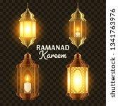 ramadan lamp set vector. islam. ... | Shutterstock .eps vector #1341763976