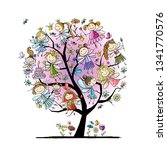 tree with cute little fairies ... | Shutterstock .eps vector #1341770576