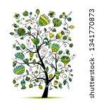 art floral tree for your design | Shutterstock .eps vector #1341770873