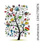 art floral tree for your design | Shutterstock .eps vector #1341770876