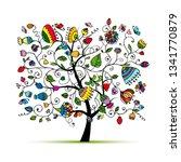 art floral tree for your design | Shutterstock .eps vector #1341770879