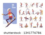 sporty young man on a winter... | Shutterstock .eps vector #1341776786