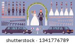 bride and groom on a wedding... | Shutterstock .eps vector #1341776789