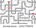 pipes seamless pattern. maze of ... | Shutterstock .eps vector #1341778493