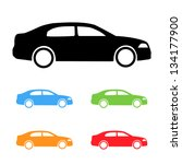 Stock vector set of vector color cars silhouettes 134177900