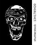 white skull in bandana looking... | Shutterstock .eps vector #1341785420