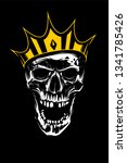 white skull in gold crown... | Shutterstock .eps vector #1341785426