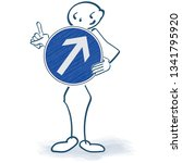 stick figure with a blue sign...   Shutterstock .eps vector #1341795920