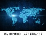 glowing map background. social... | Shutterstock . vector #1341801446