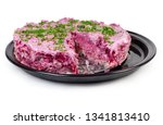 Stock photo layered salad of diced pickled herring with boiled grated vegetables also known as dressed herring 1341813410