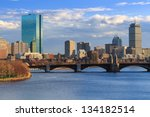 Stock photo late afternoon boston back bay skyline 134182514
