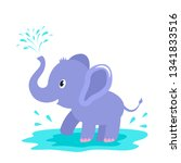 a funny elephant character... | Shutterstock .eps vector #1341833516