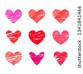 set of red and pink hearts in... | Shutterstock .eps vector #1341841466
