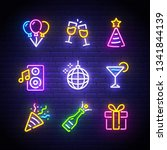party icons set. party neon... | Shutterstock .eps vector #1341844139
