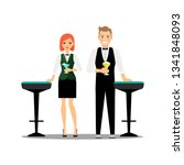 bartenders couple with... | Shutterstock .eps vector #1341848093