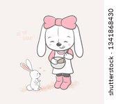 cute rabbit girl cooking for...   Shutterstock .eps vector #1341868430