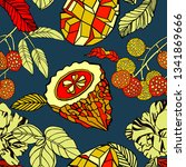 tropical pattern  bright fruits ... | Shutterstock .eps vector #1341869666