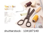 tools for embroidery  ... | Shutterstock . vector #134187140