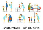 set of people visiting various... | Shutterstock .eps vector #1341875846