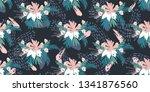 tropical leaves seamless... | Shutterstock .eps vector #1341876560