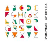 geometrical latin font  color... | Shutterstock .eps vector #1341891416