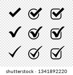 three black vector check mark... | Shutterstock .eps vector #1341892220