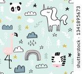 cute seamless magic forest... | Shutterstock .eps vector #1341895673