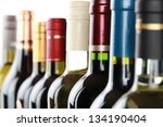Wine Bottles In A Row Isolated...
