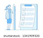 woman with checklist. complete... | Shutterstock .eps vector #1341909320