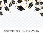 graduation caps confetti.... | Shutterstock .eps vector #1341909356